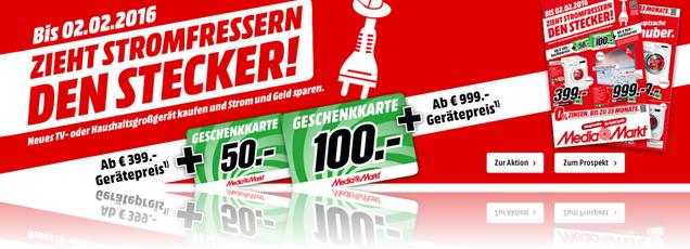 Bild zu Media Markt: Haushaltsgerät oder TV Gerät kaufen + Geschenkkarte bekommen (ab 399€ = 50€, ab 999€ = 100€)
