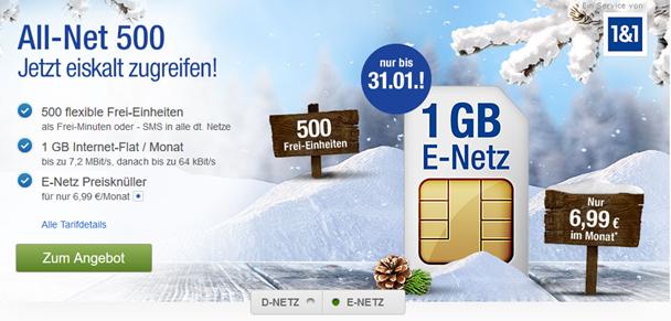 Bild zu E-Netz (500 Frei-Einheiten + 1GB Datenflat) für 6,99€/Monat