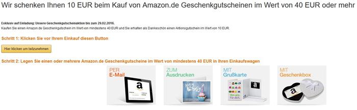 Bild zu Für ausgewählte Kunden: 40€ Amazon Gutschein kaufen und 10€ Aktionsgutschein erhalten