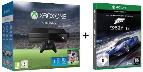 Bild zu Microsoft XBox One (500 GB) + Fifa 16 + Forza 6 für 303,99€