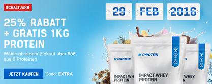 Bild zu 25% Rabatt auf Alles bei myprotein + 1kg Protein gratis (ab 60€ MBW)