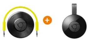 Bild zu GOOGLE Chromecast Audio + GOOGLE Chromecast 2 für 54,99€