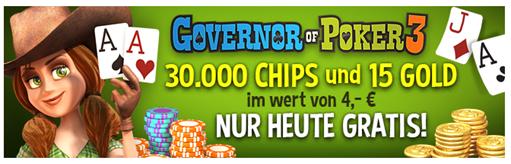 """Bild zu iOS und Android: """"Governor of Poker 3"""" nur heute In-App-Käufe (Chips für 30.000 $ und 15 Gold) im Wert von 4,- € gratis"""