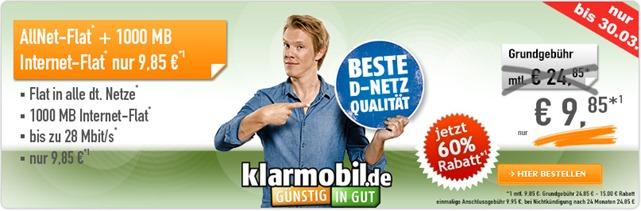 Bild zu [Neuer Bestpreis] Klarmobil Allnet Flat mit 1GB Datenflat im Telekom Netz für 9,85€ im Monat