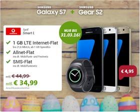 Bild zu [Knaller] Vodafone Smart L (1GB LTE Daten, SMS Flat + Sprachflat) inkl. Samsung S7 + Samsung Gear S2 (einmalig 4,95€) für 34,99€/Monat