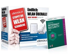 Bild zu devolo dLAN 500 WiFi Starter Kit + Kaspersky Internet Security 2016 für 79,70€