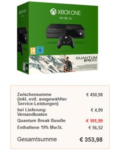 Bild zu Microsoft Xbox One 500GB inkl. Quantum Break + 2. Controller + Rise of the Tomb Raider für 353,98€