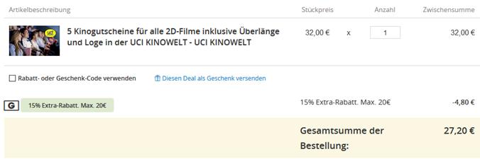 Bild zu Groupon: 5 UCI Kinotickets für 27,20€ dank Gutschein