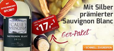 Bild zu Weinvorteil: 6 Flaschen Calle Principal Sauvignon Blanc für 22,89€