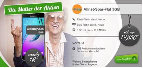 Bild zu Klarmobil Allnet-Spar Flat mit 3GB Datenflat (21,6Mbit), SMS- und Sprachflat inkl. Smartphone ab 1€ für 19,85€ pro Monat