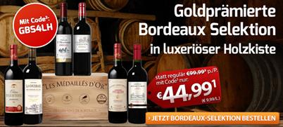 Bild zu Weinvorteil: Goldprämierte Bordeaux-Selektion mit 6 Flaschen in Holzkiste für 49,94€