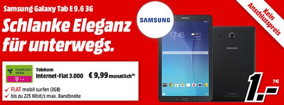 Bild zu Samsung Galaxy Tab E 9.6 3G (Vergleich: 198,90€) für einmalig 1€ mit 3GB Telekom Datenflat für 9,99€/Monat
