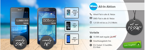Bild zu Blau.de Tarif mit 1,8GB Datenflat, SMS-  und Sprachflat für 19,99€/Monat inklusive Smartphone ab 1€