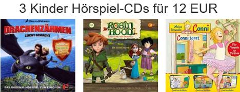 Bild zu Amazon: Drei Kinder Hörspiel-CDs für 12€