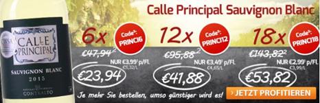 Bild zu Weinvorteil: 18 Flaschen Calle Principal Sauvignon Blanc für 58,77€