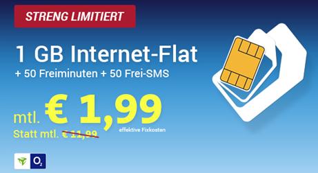 Bild zu o2 Smart Surf (50 Freiminuten, 50 Frei SMS + 1GB Datenflat) für rechnerisch 1,99€ pro Monat