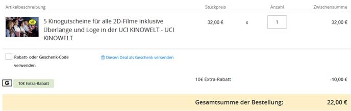 Bild zu Groupon: 5 UCI Kinotickets für 32€ (Neukunden 22€)