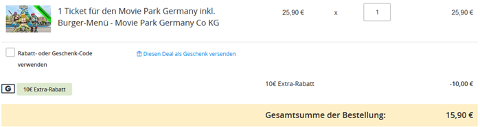 Bild zu 1 Ticket für den Movie Park Germany mit Burger-Menü ab 15,90€