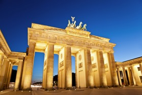 Brandenburg gate of Berlin, Germany at twilight time