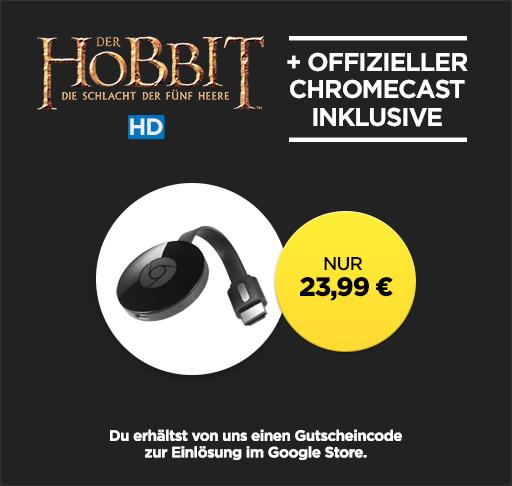 Bild zu wuaki.tv: Google Chromecast 2 + Der Hobbit – Die Schlacht der Fünf Heere (Leihversion) in HD für 23,99€