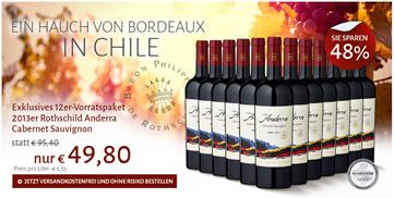 Bild zu Club of Wine: 12 Flaschen Rothschild Anderra Cabernet Sauvignon für 49,80€