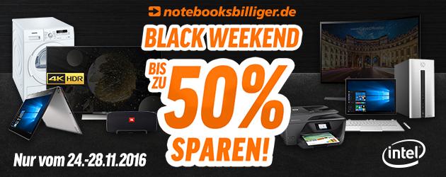 Bild zu Notebooksbilliger: Black Weekend mit bis zu 50% Rabatt auf ausgewählte Artikel