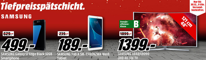 Bild zu Media Markt Tiefpreisschicht mit Angeboten von Samsung, so z.B. Samsung S7 Edge für 499€