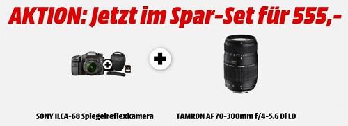 Bild zu Spiegelreflexkamera Sony Alpha 68 als Kit mit 18-55mm + 70-300mm Objektiv + Tasche + Speicherkarte für 555€