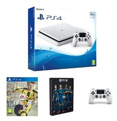Bild zu PS4 Slim weiß + Spiel (z.B. Fifa 17) plus 2. Controller für 297,38€