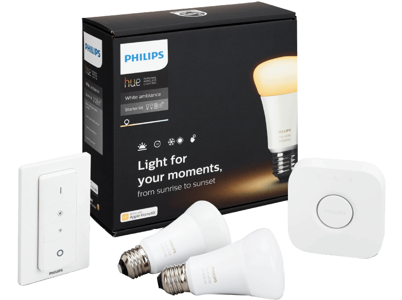 philips hue white ambiance starter kit e27 mit bridge und fernbedienung f r 99 90. Black Bedroom Furniture Sets. Home Design Ideas