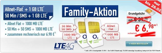 Bild zu [2 Tarife] o2 Allnet Flat + 1GB LTE sowie je 50 Freiminuten + SMS + 1GB LTE Datenflat für zusammen 6,98€/Monat