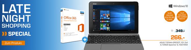 Bild zu ASUS T101HA-GR030T, Convertible Notebook mit 10.1 Zoll, 128 GB Speicher, 4 GB RAM, Atom™ x5 Prozessor, Windows® 10 Home (64 Bit) + Office 365 für 266€