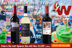 Bild zu Weinvorteil: drei verschieden Weine für je 2,99€ pro Flasche, z.B. 6 Flaschen Bodegas Vinedos Contralto – Calle Principal für 22,89€