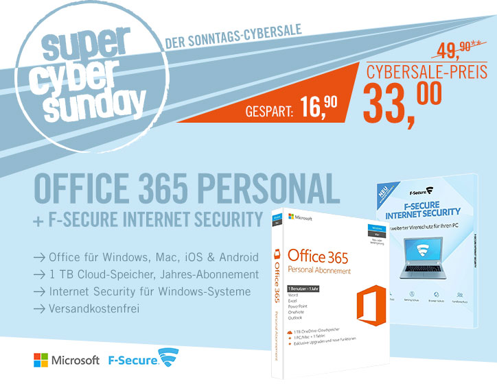 Bild zu Microsoft Office 365 Personal + F-Secure Internet Security für 36€