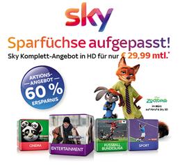 Bild zu [Super] Sky Komplett mit Sky Entertainment, Bundesliga, Sport + Cinema und alles in HD inkl. Sky Go + Receiver für 29,99€ im Monat