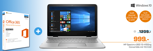 Bild zu HP Spectre x360 (13-4155ng) 33,8 cm (13,3 Zoll / Full HD IPS) Conver­ti­ble Notebook (Intel Core i7-6500U, 8 GB RAM, 512 GB SSD, Intel HD Graphics, Touch, Win 10 Home 64) + Office für 999€