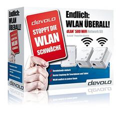 Bild zu devolo dLAN 500 WiFi Network Kit (500Mbit, 3er Kit, Powerline + WLAN, 1xLAN) für 99€
