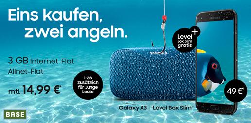Bild zu [Super] Base mit 3GB LTE Datenflat (junge Leute 4GB) inkl. Sprachflat + z.B. Samsung A3 (2017) inkl. neuer Samsung Level Box Slim (zusammen 49€) für 14,99€/Monat