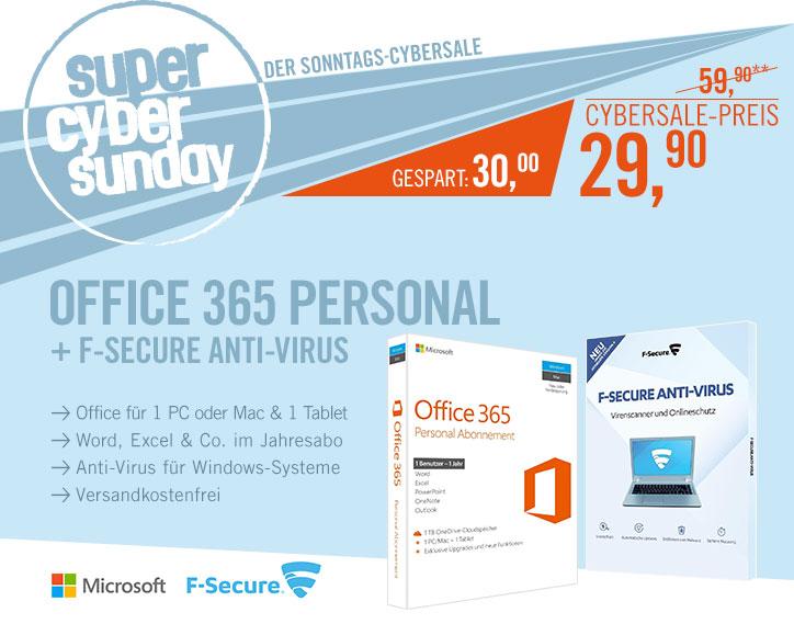 Bild zu Microsoft Office 365 Personal und F-Secure Anti-Virus für 29,90€