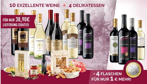 Bild zu 14 Flaschen italienischen Wein + 4 Delikatessen für 39,90€