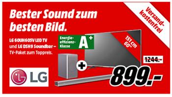 Bild zu LG 60UH605V 151 cm (60 Zoll) Fernseher (Ultra HD, Triple Tuner, Smart TV) [Energieklasse A+] + LG DSH9 Soundbar für 899€ (Vergleich: 1.113,50€)