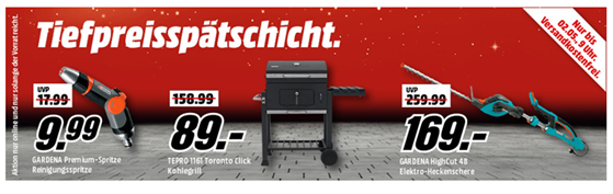 Bild zu MediaMarkt Tiefpreisspätchschicht mit Artikeln von Bosch, Gartenartikel von Gardena und Grills & Zubehör