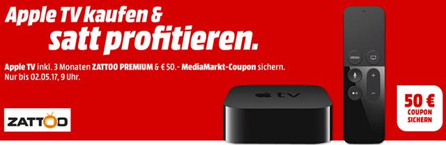 Bild zu APPLE TV MGY52FD/A 32 GB + 3 Monate Zattoo Premium + 50€ MediaMarkt Gutschein für 179€