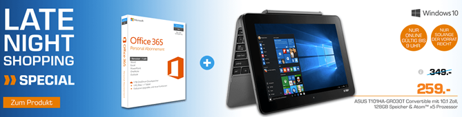 Bild zu Asus Transformer Book T101HA-GR030T + Office 365 für 259€