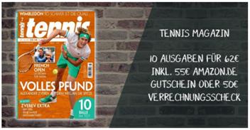 """Bild zu 10 Ausgaben der Zeitschrift """"Tennis Magazin"""" für 62€ inkl. 55€ Amazon Gutschein"""