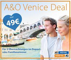 Bild zu A&O Venedig: 2 Übernachtungen für 2 für nur 49 € – 3 Jahre gültig