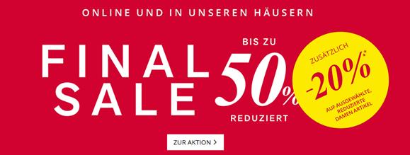 Peek & Cloppenburg*: Sale mit bis zu 50% Rabatt + 20% Extra