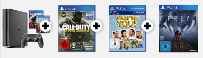Bild zu [Super] PS4 Slim 1TB mit Call of Duty + Thats You! + Prey + Watch Dogs 1 + 2 für 255€ (Vergleich: 347,55€)