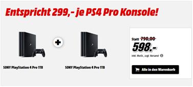 Bild zu MediaMarkt: 2 PlayStation 4 Pro Konsolen 1TB für insgesamt 598€ zzgl. eventuell 4,99€ Versand