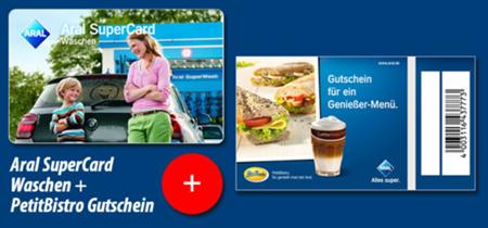 """Bild zu 2 x """"Aral SuperCard Waschen"""" + 2 Gutscheine für das PetitBistro – statt 40,00 € für 27,99 €"""